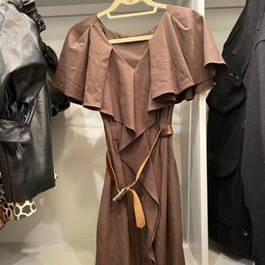 Black Halo brown belted dress